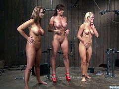 Three hot chicks with big tits are naked and tied up in this kinky bondage scene where they get toyed with and abused, check it out!