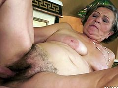 Young dude fucks hard one insatiable old woman. He penetrates her hairy pussy in missionary style and kisses her passionately.Watch steamy young +old sex tube video for free.