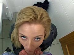 Cherie is one easy amateur Czech chick that is so sexy in her tight jeans. She takes some cash to suck his fat dick in front of the camera. She takes his meaty dick in her sweet european mouth from your point of view in the public bathroom.