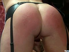 Naughty girls get their tits and asses spanked. Later on they get toyed. After that these girls fuck each other with a strap-on.