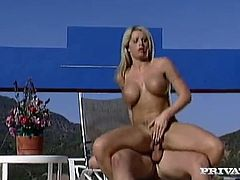 Gorgeous blonde milf Brooke Haven is having a good time with some guy on the poolside. They kiss and caress each other and then fuck like never before on a beach chair.