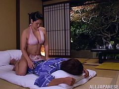 Sexy Japanese milf lets her man lick her vag and pleases him with a titjob. Then she sits down on his schlong and they have some naughty banging in cowgirl position.