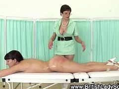 Lezdom fetish mature nurse hottie spanks bitch to get off