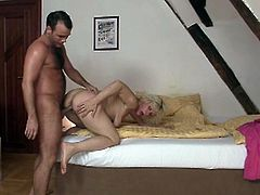 This horny czech granny has always wanted to fuck her son-in-law. While her daughter is away she sucks and takes his cock in her cunt!