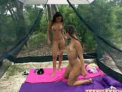 Amateur lesbian Sophia and Nicole are licking & finger fucking each others juicy tight holes.They went to experience what Camping in the Forest is all about,After talking about stuff they both got horny and started ripping off each others clothes and licking soft wet tight teen pussies.