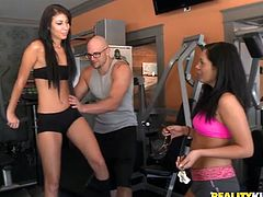 This dude is the only fitness instructor out there so these sporty babes with well-shaped legs are dying to get fucked hardcore style.