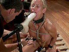 Simone Sonay gets her awesome pussy toyed hard in stunning BDSM scene