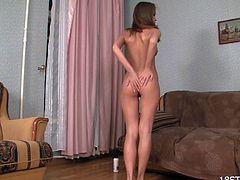 Splendid babe likes to gently finger her shaved twat in amazing solo action