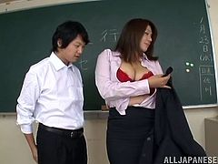 Moreover, Mizuki Ann works at the men's school and there are only studs in her class, who are so dreaming about fucking their sexy and chubby teacher!