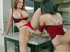 Experienced mature woman Deauxma with huge tits gives sex instructions to pretty college girl Gulliana A and her boyfriend. She sucks dick like crazy and then gets her many times used pussy licked and fucked.