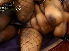 Chubby ebony whore Mz Caution has a huge sexual appetite. Insatiable babe needs a real man to satisfy her lust. She sucks his cock greedily to make it hard and then she gets into sideways position to let her lover control the penetration.