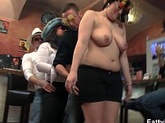 Two young dudes are having a wild party with some huge big titted sluts. They show off their big butts and breasts and lick each other!