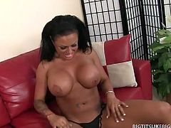 Kerry Louise and her big black tits need a complementary cock. Sledge Hammer has exactly what she needs to fill in that shaved pussy.