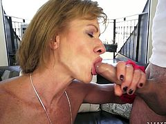 Hussy mature blonde sucks cock greedily and later hops on it like sex insane. She rubs her hairy pussy at the same time for the best ever orgasm.