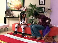 Sexy dark-haired chick Jayla Starr kneels in front of a black dude and pleases him with a hot blowjob. Then they fuck in cowgirl position and Jayla can't help but moan loudly with pleasure.