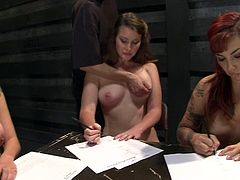 Insatiable stud Maestro is having fun with Rozen Debowe and other girls in a basement. She binds and torments the girls and then makes them rub their cunts with a vibrator.