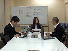 THis sexy and naughty Japanese CEO is so fucking horny and naughty! She gets on the table and starts taking her cloths off. Her colleagues are shocked!