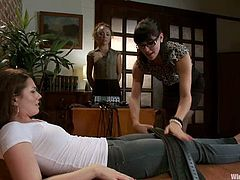 Bobbi Starr is having fun with Sarah Shevon and her cute lesbian GF. Bobbi binds the skanks, attaches wires to their vags and fucks them with toys afterwards.