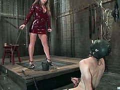 This guy is not only going to get his ass fucked by this girl's strapon dildos, but also will suffer ball torture and extreme bondage.
