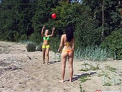 Two peppering Russian chics play volleyball at the beach before they get fully naked. Later they start kissing in lips before a spoiled brunette inclines to tongue fuck a tasty brown vagina.