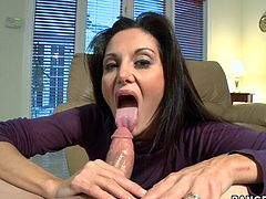 A dirty brunette whore sucks on this dude's hard dick and gets it shoved deep into her fucking cunt. She loves every second of it!