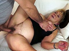 Luscious granny with chunky body has just got her hairy clam polished by thirsty guy. Then she pays off by sucking his rod deepthroat.