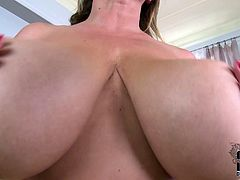 Join Laura and her gigantic boobies as she strips plays with her wet pussy to give us one flirty solo show on the couch.