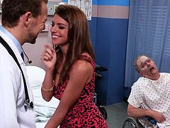 She is in the hospital to see her old man but instead of that all her concentration goes on that hunky doctor. She forgets about grandpa and begins to fuck the guy. The bitch spreads her amazing thighs in front of him and gets her pussy licked before sucking his cock