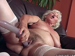 Gosh, this grey haired bitch with droopy boobs and cellulitis ass presented in 21 Sextury xxx clip is surely a voracious nympho... Too old and too spoiled pale whore desires to go solo for pleasure. So wrinkled gammer in white lingerie takes a dildo to polish her wet old cunt on the couch.