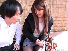 This Japanese girl has met a nice guy and she begins talking to him. He's nice, but he's a bit of a pervert. He has a thing for tight assholes. She offers to show him hers and he inserts a stick in it. This is the craziest thing she has ever done.