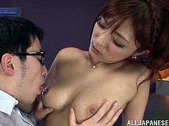 Busty Japanese slut Satou Haruka shows her nice body to her man and lets him play with her boobs and pussy. Then she kneels in front of him and favours him with a stunning blowjob.