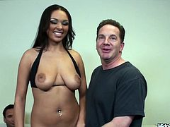 Lewd Latin harlow with big slack tits seduces two horny daddies with her cuddly shapes before she kneels down in front of one of them to oral fuck his sturdy penis in sultry threesome sex video presented by Pornstar.