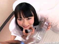 Slutty Japanese nurse Arina Sakita is having fun with her boss in a hospital ward. She lets the man caress her body and then they have sex in missionary and other positions.