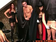Check out the hottest cfnm show where hot babes having fun with two poor guys,Femdoms dominating their sub by tugging and sucking.Enjoy!