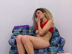 Curly-haired blondie with yummy tits plays her solo part in this long song of love and passion. Don't miss her solo masturbation session as she goes wild because of that dildo!