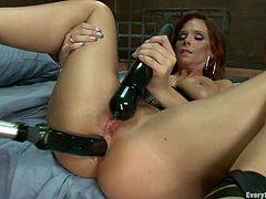Check out what these two lesbians are up to! The bitches want some anal pleasure and nothing will quench that sex drive. First the redhead lays on her back, spread her legs and gets fucked with a strap on dildo attached on the blonde's mouth. She loves it deep in the ass and repays her gf with an enema and more.