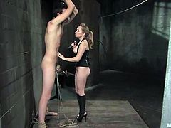 Poor guy gets humiliated by sexy chick. She tortures his balls and then fixes claws to his nipples. He also has to lick her pussy.