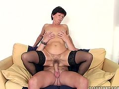 Horny granny loves young sex partners with long lasting cocks. She seduces one for sex. Mature hooker squats down sucking long dick deepthroat.