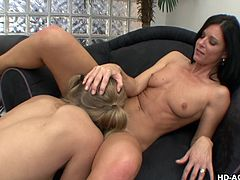 Sexy dark haired milf India Summer has her pussy eaten out by the much younger Chastity Lynn. The blonde babe does a really good job of eating pussy and then the two get on the floor with each other and finger each other's cunt simultaneously.