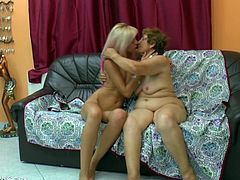 Granny Margitte and her young skinny chick Sky are up to no good! These two whores want to prove us that age has nothing to do when it's about the love between two women. Granny does that by lustfully licking her girl's pussy and then, Sky bends over and spreads her butt chicks giving her gf better access to her cunt.