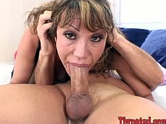 Lewd mom Ava Devine is having some fun with a horny dude. She sucks and deepthroats his schlong and lets the man cum on her face.
