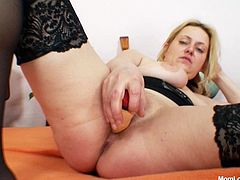 Nasty and insatiable mature floosie is here. She dildo fucks her snatch passionately and dreams of huge dong between her stocking legs. Go for the exciting Czech Cougars sex tube video.