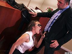 Teen Teal it at work, she's new to this and has to move on the hierarchy fast. Luckily Teal has a special skill that will surely make her boss happy with her and how knows, maybe even promote her. She is good at sucking cock so after she knelt and gave the guy head her licks her ass and the action begins