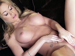 Blonde goddess Angela Sommers gives stunning views of her pussy being masturbated
