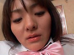 Excited Asian school sweetie boob sucked and pussy opened wide