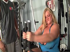 Her trainer thinks that this chubby whore does her exercises, but when he's not looking this bitch eats pizza. All that hard work for nothing! Well, she needs to learn a lesson so the trainer makes her burn those calories by sucking his dick like a cheap whore. Then she tit fucks him with her huge, fat boobs.