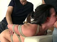 A hogtied and humiliated Judit sucks off Markus Dupree, Omar, Galanti,Rokki and Steve Holmes. Oh, and she gets roughed a little, too. And why not Its her fantasy, after all.