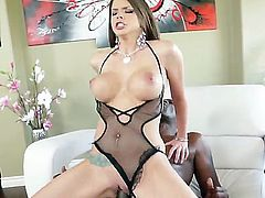 Horny gal Brooklyn Chase enjoys sliding down Lexington Steeles massive dong. Her large, round tits jump up and down while her wet cunt is porked hard.