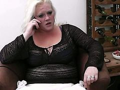 This British blonde with huge tits can't have an orgasm because her toy doesn't work, so the man who's supposed to fix it must bring her to orgasm instead.