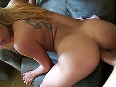 Gulliana Alexis was playing on the couch when her man came in and gave her something to suck with her headset on. Then, he fucked her on the couch.